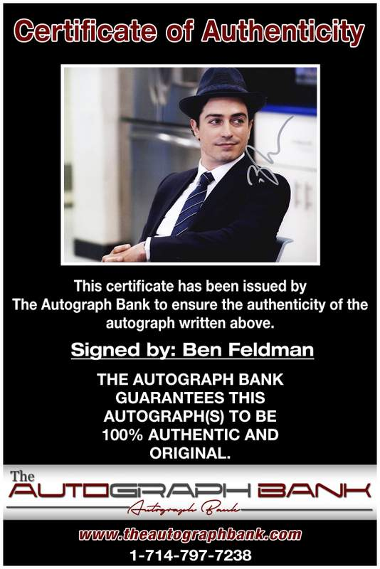 Ben Feldman certificate of authenticity from the autograph bank