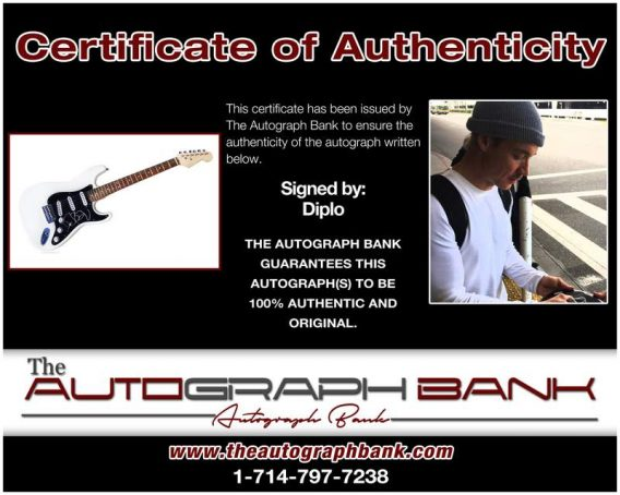 Diplo certificate of authenticity from the autograph bank