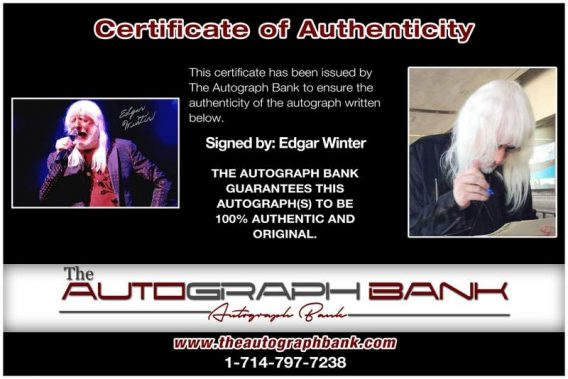 Edgar Winter certificate of authenticity from the autograph bank