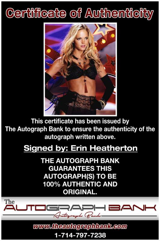 Erin Heatherton certificate of authenticity from the autograph bank
