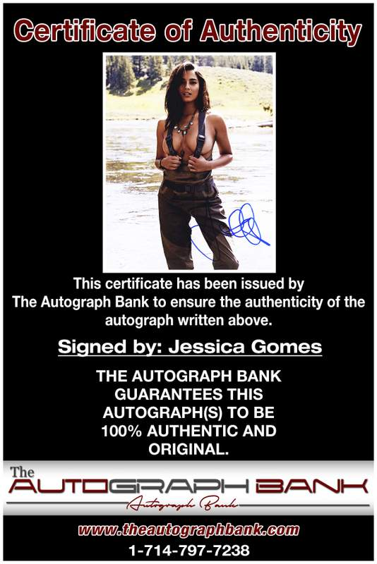 Jessica Gomes certificate of authenticity from the autograph bank