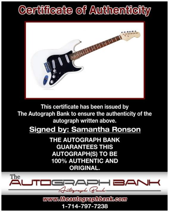 Samantha Ronson certificate of authenticity from the autograph bank