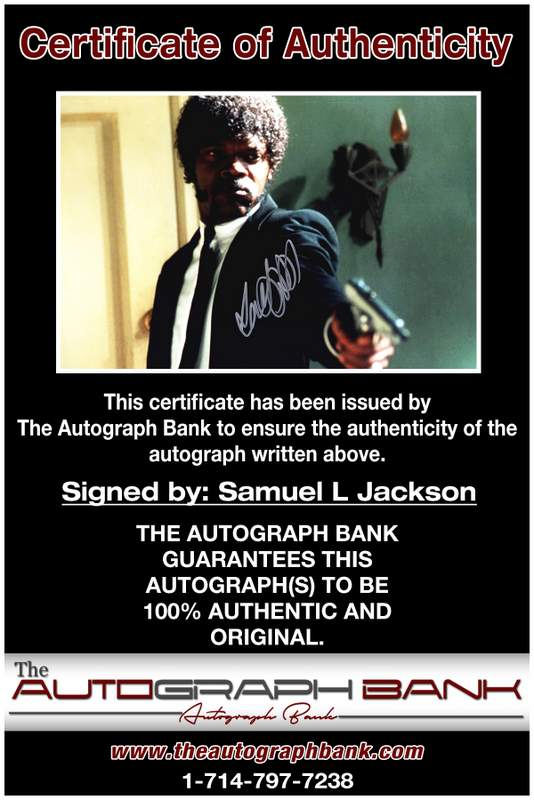 Samuel L Jackson certificate of authenticity from the autograph bank