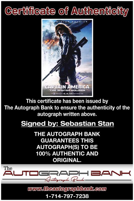 Sebastian Stan certificate of authenticity from the autograph bank