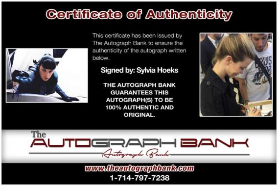 Sylvia Hoeks certificate of authenticity from the autograph bank