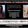 Yurizan Beltran certificate of authenticity from the autograph bank