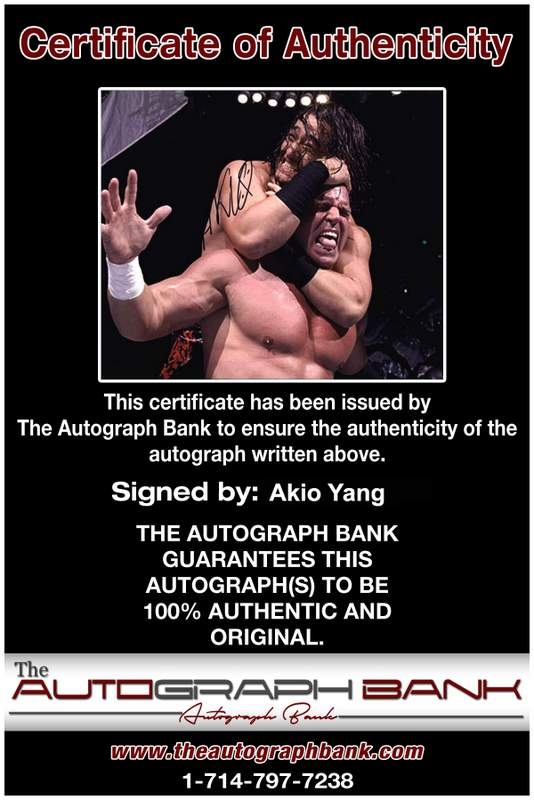 Akio Yang authentic signed WWE wrestling 8x10 photo W/Cert Autographed 01 Certificate of Authenticity from The Autograph Bank