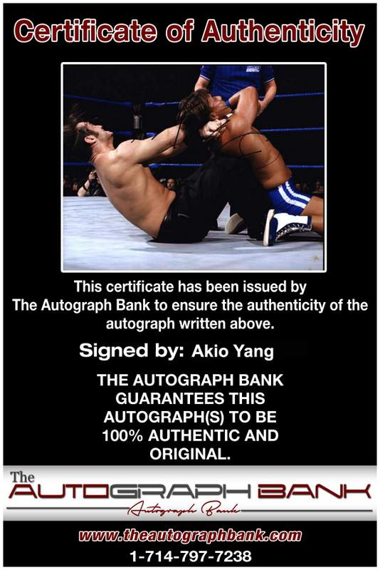Akio Yang authentic signed WWE wrestling 8x10 photo W/Cert Autographed 02 Certificate of Authenticity from The Autograph Bank