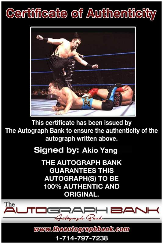 Akio Yang authentic signed WWE wrestling 8x10 photo W/Cert Autographed 05 Certificate of Authenticity from The Autograph Bank
