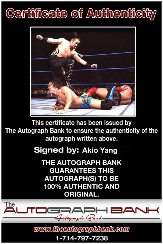 Akio Yang authentic signed WWE wrestling 8x10 photo W/Cert Autographed 06 Certificate of Authenticity from The Autograph Bank