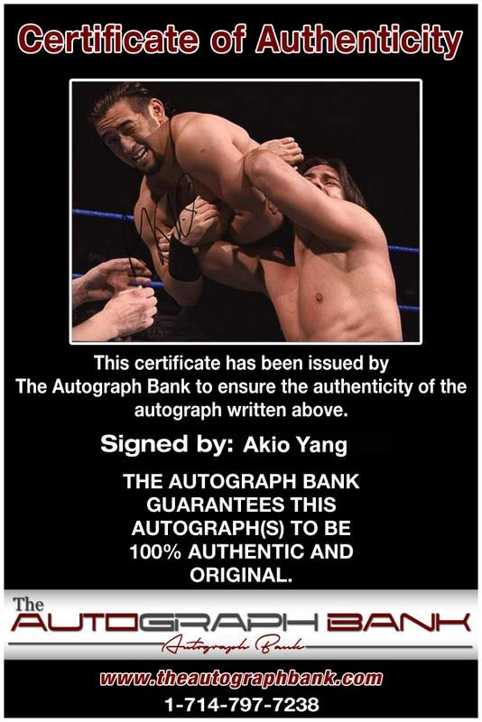 Akio Yang authentic signed WWE wrestling 8x10 photo W/Cert Autographed 07 Certificate of Authenticity from The Autograph Bank