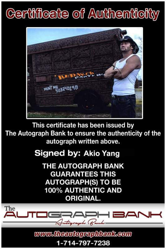 Akio Yang authentic signed WWE wrestling 8x10 photo W/Cert Autographed 08 Certificate of Authenticity from The Autograph Bank