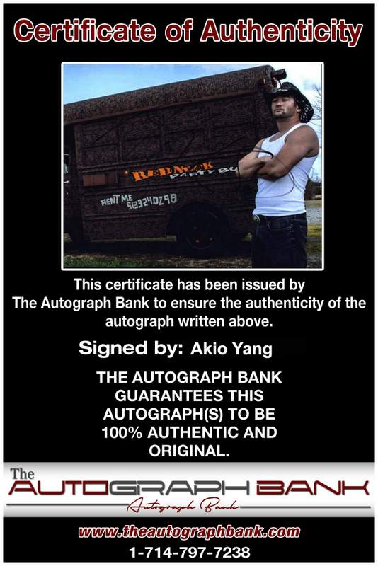 Akio Yang authentic signed WWE wrestling 8x10 photo W/Cert Autographed 09 Certificate of Authenticity from The Autograph Bank