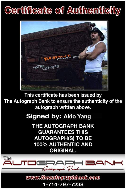 Akio Yang authentic signed WWE wrestling 8x10 photo W/Cert Autographed 11 Certificate of Authenticity from The Autograph Bank