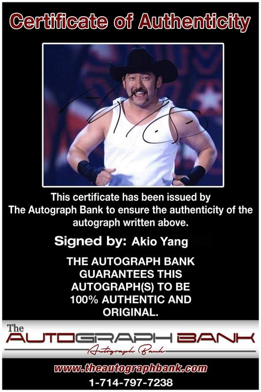 Akio Yang authentic signed WWE wrestling 8x10 photo W/Cert Autographed 12 Certificate of Authenticity from The Autograph Bank