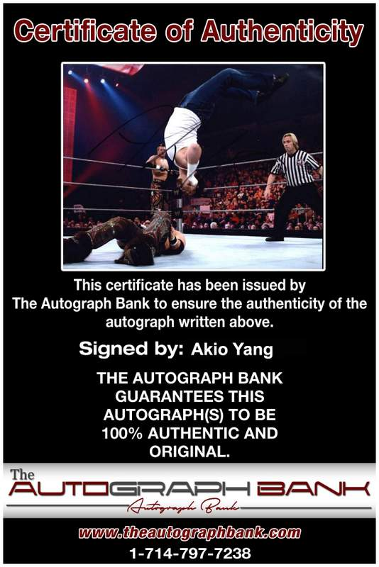 Akio Yang authentic signed WWE wrestling 8x10 photo W/Cert Autographed 13 Certificate of Authenticity from The Autograph Bank