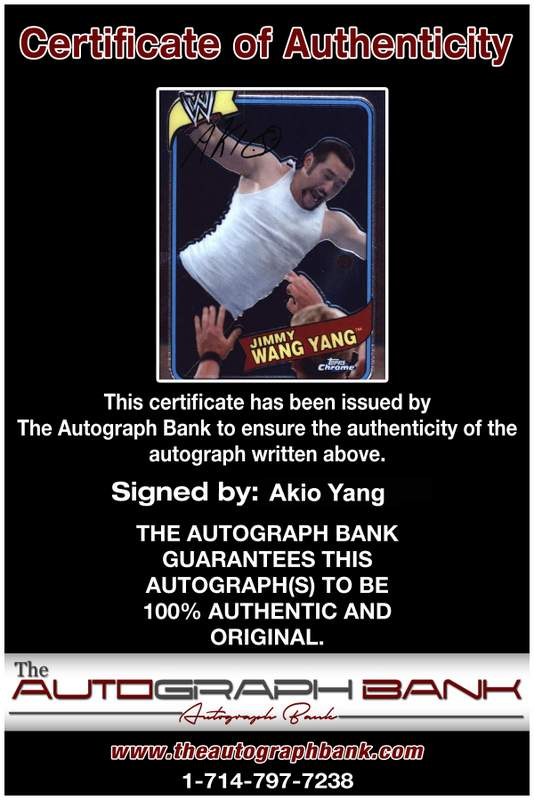 Akio Yang authentic signed WWE wrestling 8x10 photo W/Cert Autographed 30 Certificate of Authenticity from The Autograph Bank