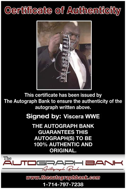 Viscera Big Daddy Voodoo signed WWE wrestling 8x10 photo W/Cert Autographed 08 Certificate of Authenticity from The Autograph Bank