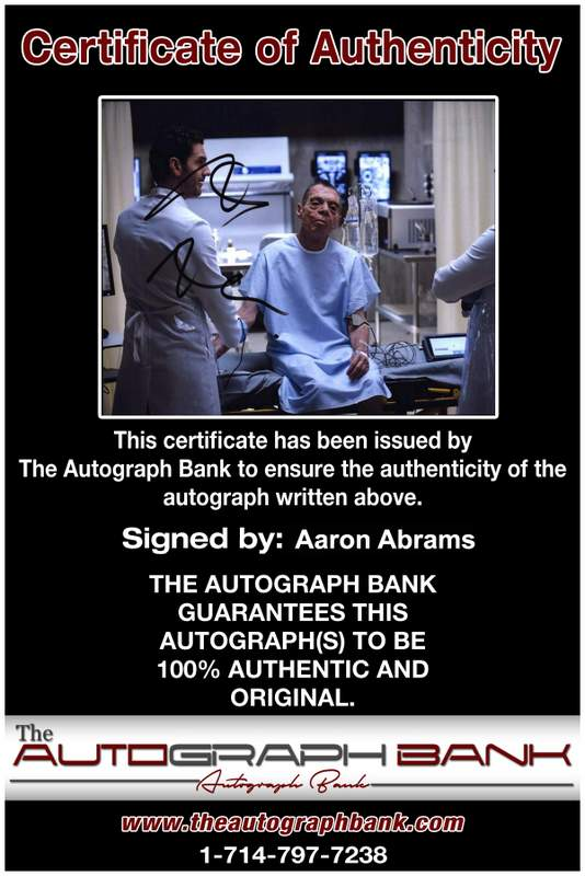 Aaron Abrams Certificate of Authenticity from The Autograph Bank