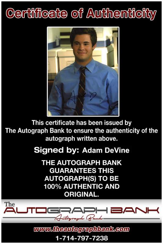 Adam Devine Certificate of Authenticity from The Autograph Bank