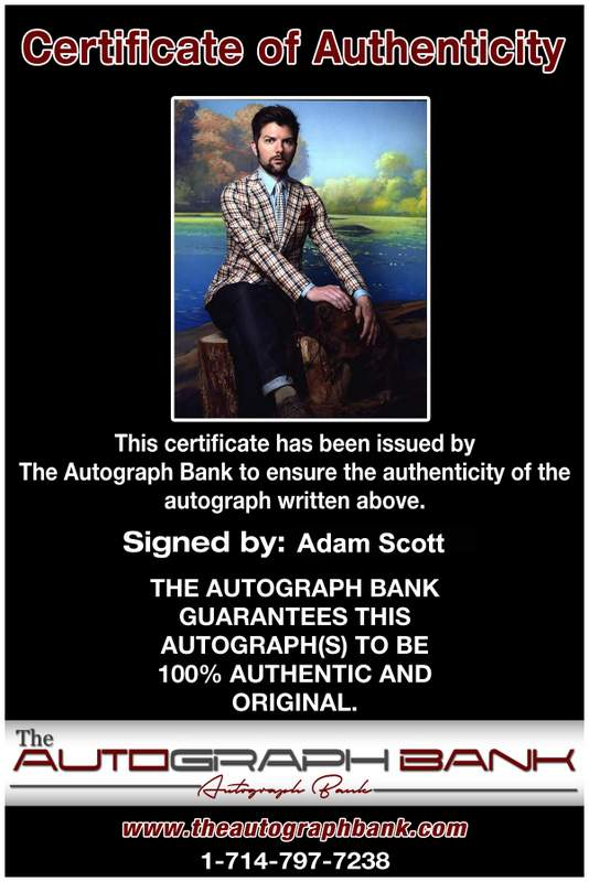 Adam Scott Certificate of Authenticity from The Autograph Bank