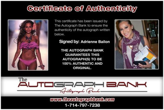 Adrienne Bailon Certificate of Authenticity from The Autograph Bank