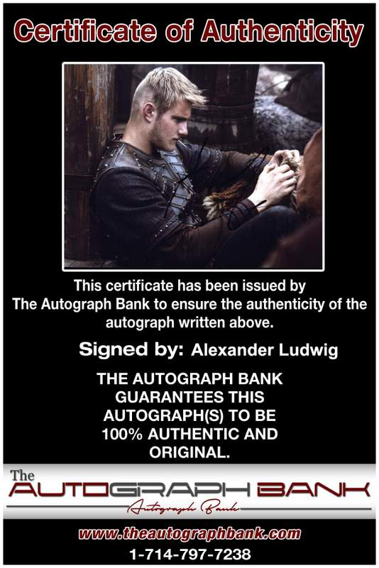 Alexander Ludwig Certificate of Authenticity from The Autograph Bank