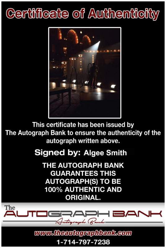 Algee Smith Certificate of Authenticity from The Autograph Bank