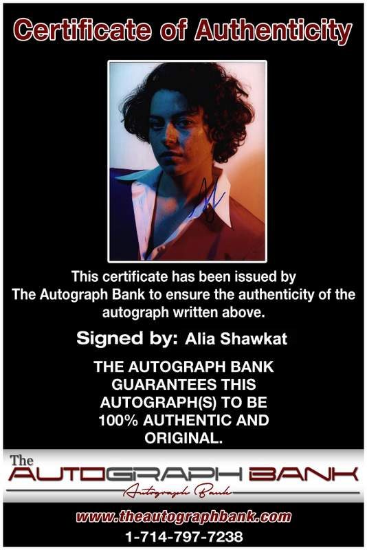Alia Shawkat Certificate of Authenticity from The Autograph Bank