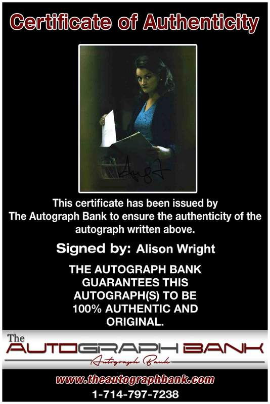 Alison Wright Certificate of Authenticity from The Autograph Bank