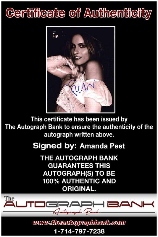 Amanda Peet Certificate of Authenticity from The Autograph Bank
