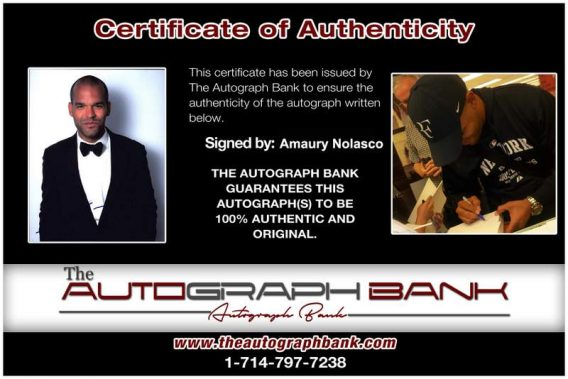 Amaury Nolasco Certificate of Authenticity from The Autograph Bank