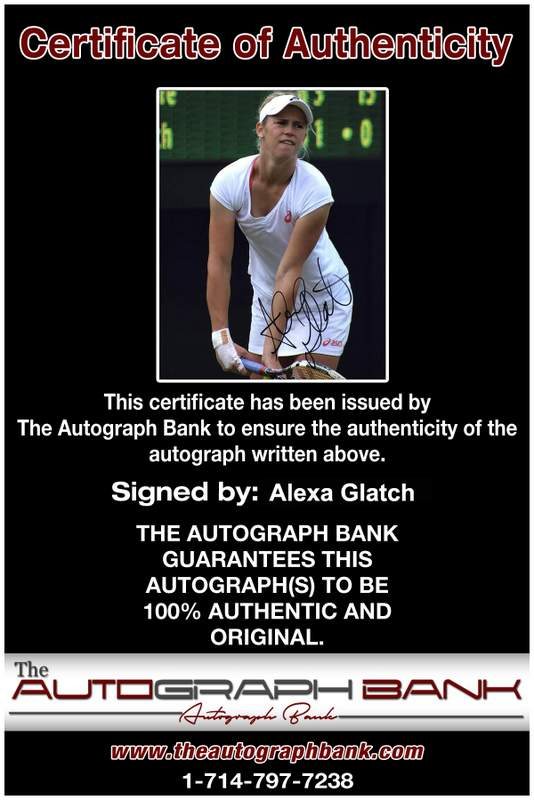 Tennis player Alexa Glatch Certificate of Authenticity from The Autograph Bank
