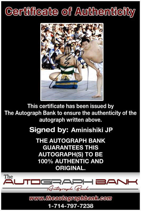 Sumo wrestler Aminishiki Jp Certificate of Authenticity from The Autograph Bank