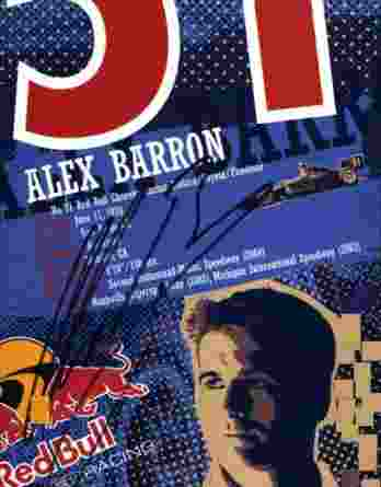 IndyCar series racing Alex Barron signed 8x10 photo