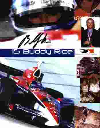 IndyCar series racing Buddy Rice signed 8x10 photo