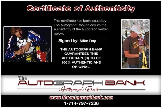 Olympic BMX Mike Day Certificate of Authenticity from The Autograph Bank