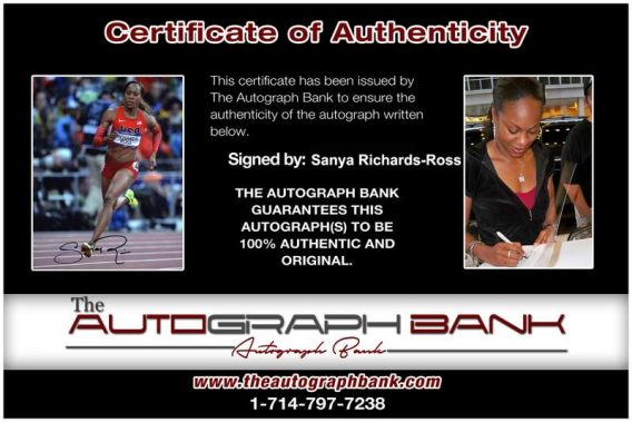 Olympic Track Sanya Richards-Ross Certificate of Authenticity from The Autograph Bank