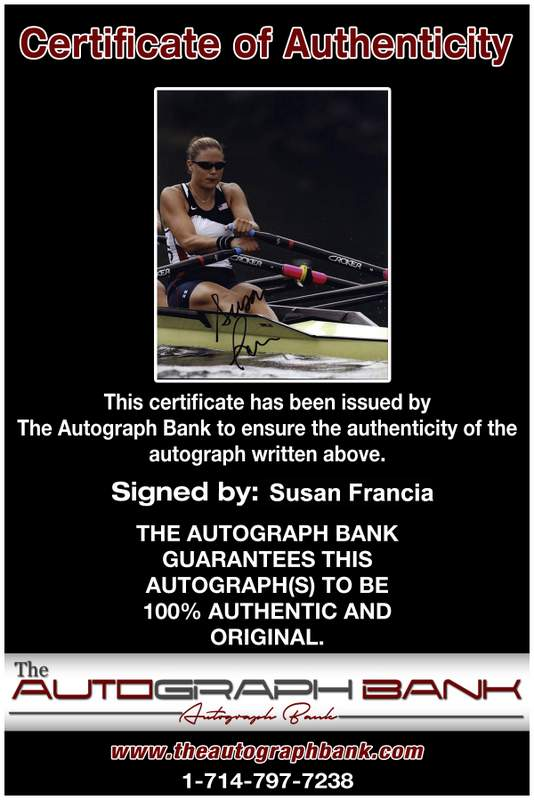 Olympic Rowing Susan Francia Certificate of Authenticity from The Autograph Bank