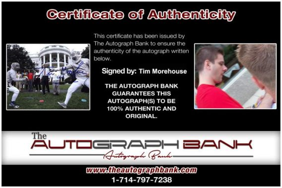 Olympic Fencing Tim Morehouse Certificate of Authenticity from The Autograph Bank