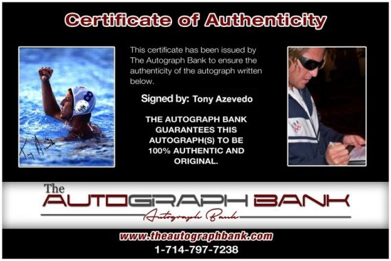 Olympic Fencing Tony Azevedo Certificate of Authenticity from The Autograph Bank